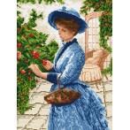 Kanwa z nadrukiem - Dama zbierająca kwiaty
