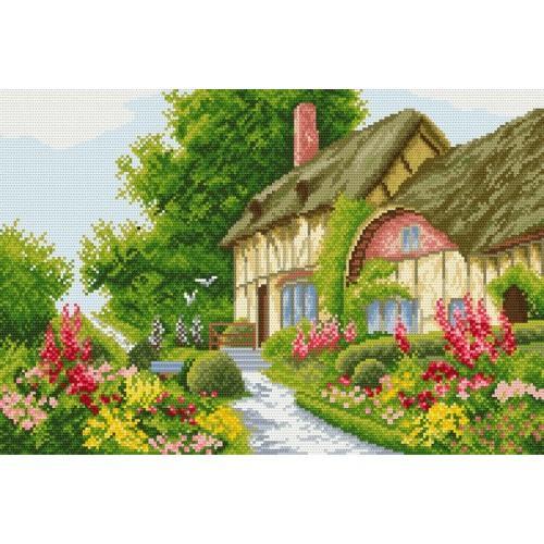 Kanwa z nadrukiem - Domek w kwiatach