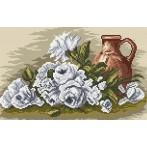 Kanwa z nadrukiem - Białe róże
