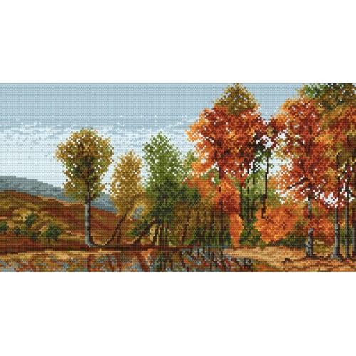 4110 Kanwa z nadrukiem - Pejzaż jesienny