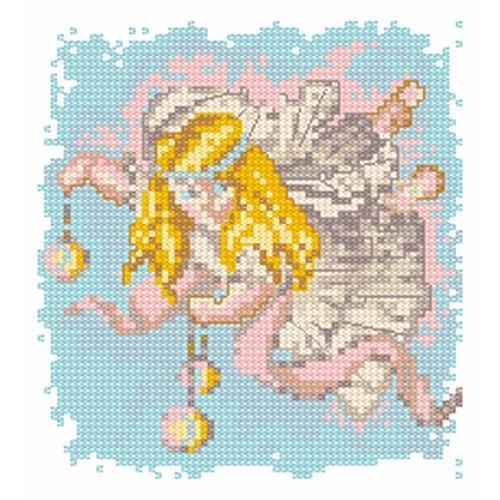 Kanwa z nadrukiem - Aniołek z ozdobami świątecznymi