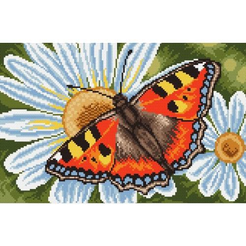 Kanwa z nadrukiem - Motylek i margerytki
