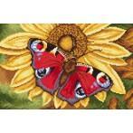 Kanwa z nadrukiem - Motyl i słonecznik