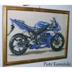 Kanwa z nadrukiem - Motocykl_błękitna błyskawica