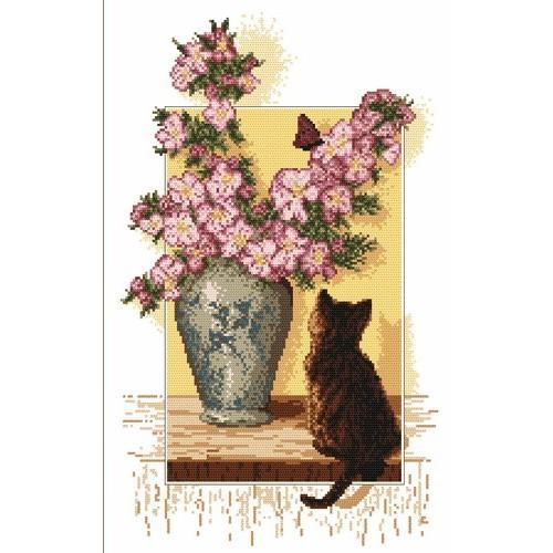 Kanwa z nadrukiem - Kotek przy dzbanie
