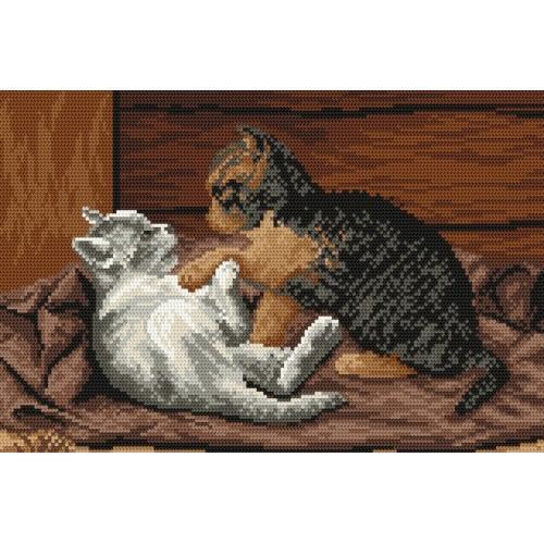 Kanwa z nadrukiem - Bawiące się kotki