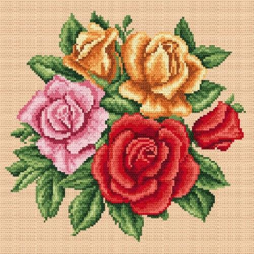 Kanwa z nadrukiem - Barwne_róże