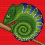 Kanwa z nadrukiem - Zakręcony kameleon