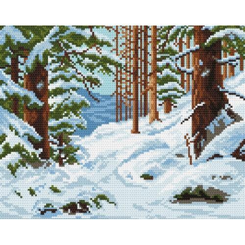 Kanwa z nadrukiem - Zimowy las
