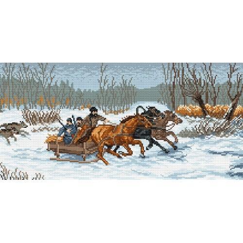 Kanwa z nadrukiem - Ucieczka przed wilkami