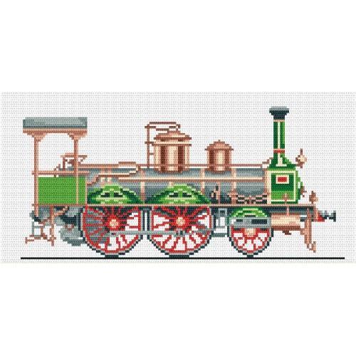 Kanwa z nadrukiem - Zielona lokomotywa