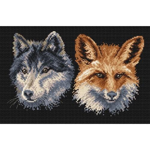 Kanwa z nadrukiem - Wilk i lis