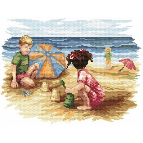 Kanwa z nadrukiem - B. Sikora - Dzieci na plaży
