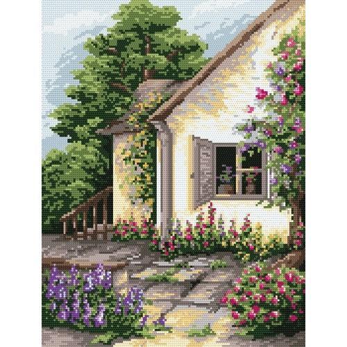 4510 Kanwa z nadrukiem - W zaciszu ogrodu