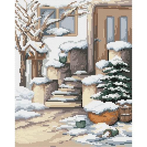 4511 Kanwa z nadrukiem - Zimowy ganek