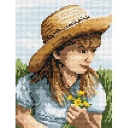 4516 Kanwa z nadrukiem - B.Sikora-Malyjurek - Dziewczynka z kwiatuszkami