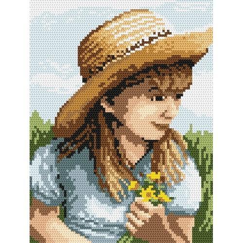 4516 Kanwa z nadrukiem - Dziewczynka z kwiatuszkami