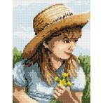 Kanwa z nadrukiem - B.Sikora-Malyjurek - Dziewczynka z kwiatuszkami