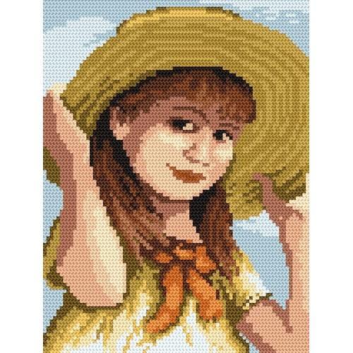 Kanwa z nadrukiem - B.Sikora-Malyjurek - Dziewczynka z kokardką