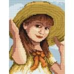 4517 Kanwa z nadrukiem - Dziewczynka z kokardką