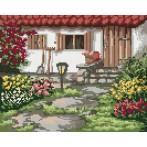 Kanwa z nadrukiem - B. Sikora - Wiosenny ogródek