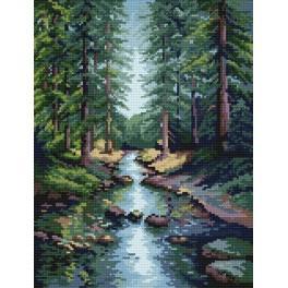 Kanwa z nadrukiem - S. Sikora - Leśny potok