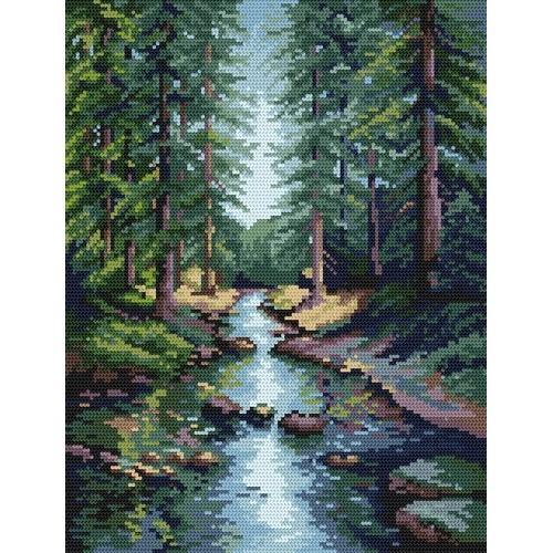 4532 Kanwa z nadrukiem - Leśny potok