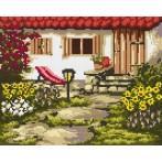 4533 Kanwa z nadrukiem - Letni ogródek