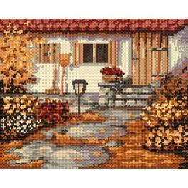 Kanwa z nadrukiem - B. Sikora - Jesienny ogródek