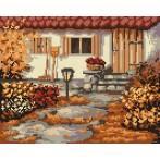 4534 Kanwa z nadrukiem - Jesienny ogródek