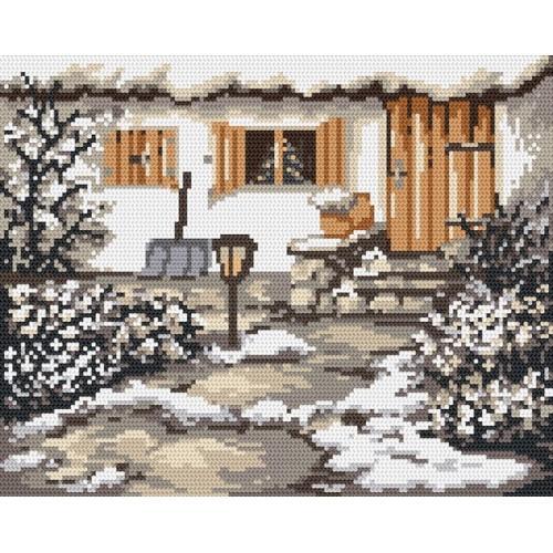 4535 Kanwa z nadrukiem - Zimowy ogródek