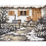 Kanwa z nadrukiem - B.Sikora - Zimowy ogródek