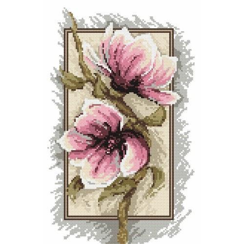 4540 Kanwa z nadrukiem - Kwiaty magnolii