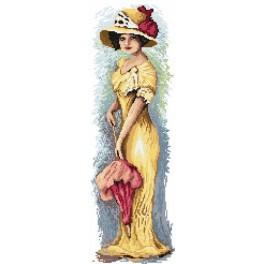 4543 Kanwa z nadrukiem - Kobieta z parasolką