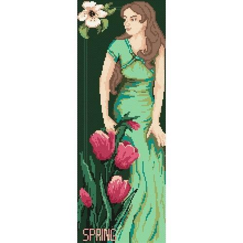 Kanwa z nadrukiem - B. Sikora - Kobieta - Wiosna