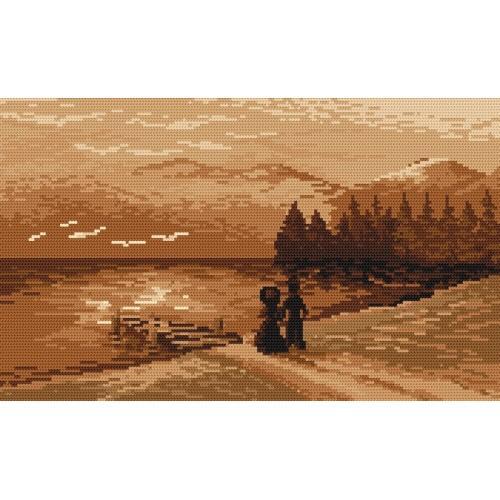 Kanwa z nadrukiem - B. Sikora - Wieczorny spacer