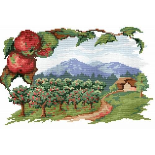 Kanwa z nadrukiem - Sad jabłkowy