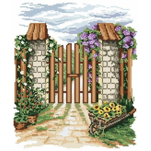 Kanwa z nadrukiem - B. Sikora - Kwiatowa furtka
