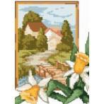 Kanwa z nadrukiem - B. Sikora - Pejzaż z żonkilami