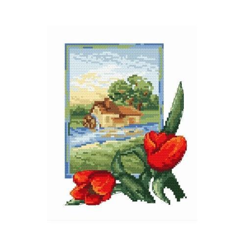 Kanwa z nadrukiem - B. Sikora - Pejzaż z tulipanami