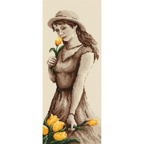 Kanwa z nadrukiem - B. Sikora - Dziewczyna z tulipanem