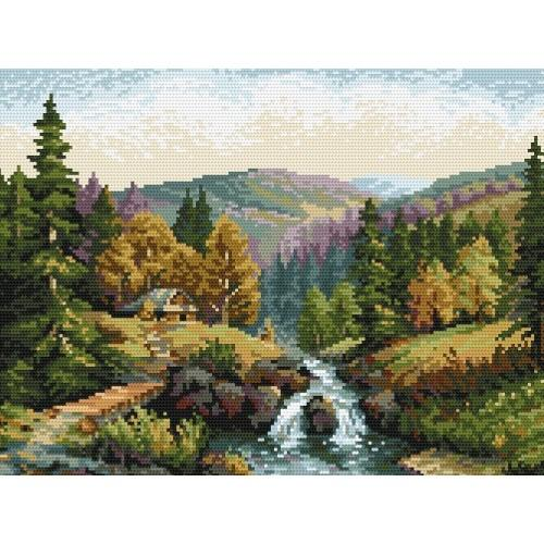 Kanwa z nadrukiem - S.Sikora_- Dolina z potokiem