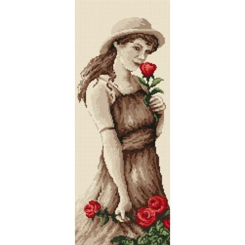 Kanwa z nadrukiem - B. Sikora - Dziewczyna z różą