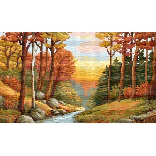 Kanwa z nadrukiem - B. Sikora - Jesienny potok