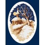 Kanwa z nadrukiem - B.Sikora - Zimowy kościółek