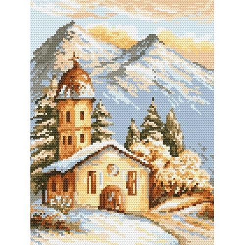 Kanwa z nadrukiem - Alpejski kościółek