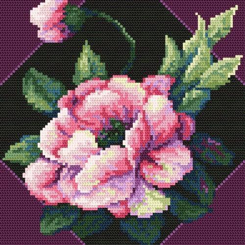 Kanwa z nadrukiem - B. Sikora_Barwny kwiat