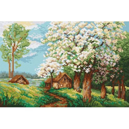 Kanwa z nadrukiem - Wiosenny sad
