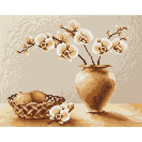 Kanwa z nadrukiem - Tajemnicze storczyki