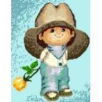 Kanwa z nadrukiem - Chłopczyk w kapeluszu